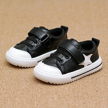 Children's Sport Shoes Leather Boys Girls Leather Shoes Wholesale Baby Fashion Sneakers Comfortable Kids Flats Shoes Autumn  Red