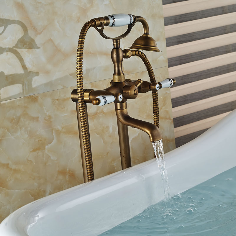 Antique Carved Bathroom Shower Set Floor Mount Freestanding Bathtub ...