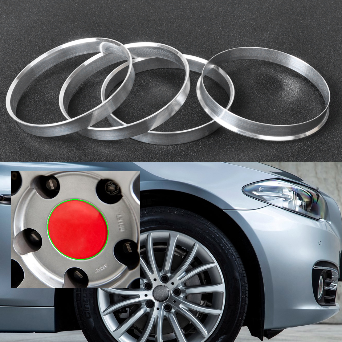 beler 4pcs Silver Aluminum Hub Rings 72.6mm Car Hub to 74.1mm Wheel Bore ID 72.56 OD 74 For BMW 1 3 4 5 7 Series X1 X3 X4 X5 X6