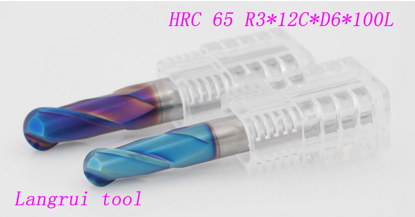 4PCS R3*D6*100L 2 flutes tungsten carbide solide 6mm ball nose end mill CNC for machine milling cutter