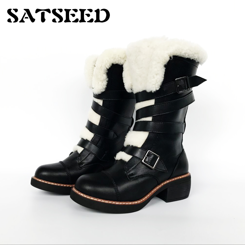 European Winter Boots Star Wool Snow Belt Buckle Genuine Leather Women Shoes Martin Boots Middle Square Heel Boots Mid-calf New 2018 new vintage mid calf women boots square thick high heels pointed toe martin boots genuine leather winter shoes for women