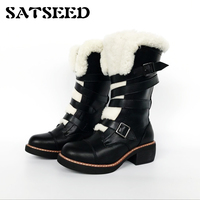European Winter Boots Star Wool Snow Belt Buckle Genuine Leather Women Shoes Martin Boots Middle Square Heel Boots Mid calf New