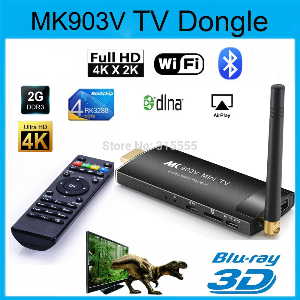 MK903V RK3288 Quad Core Android 4.4 TV Stick Ram2GB Rom 8GB HDMI 4K*2K H.265 2.4GHz/5GHz Dual WiFi OTG USB 1080P TV Dongle цена