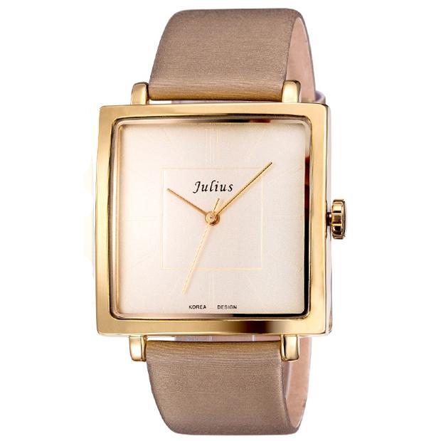 Prix pour Julius Marque Quartz Montres Femmes Horloge Or Carré Bracelet En Cuir Casual Whatch De Mode Dames Pas Cher Promotion Relojes JA-354