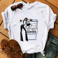 Coffee T Shirt Lady Luxury Make Up T-Shirt Women Summer Casual Short Tops Girl Hipster T-shirts