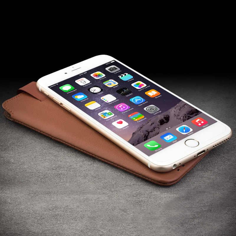 """QIALINO 革財布ケースのための iphone 6 6s 4.7 新ポーチのための iphone 6 plus 7/8 プラス 5.5 """"レザースロット高級ケース"""