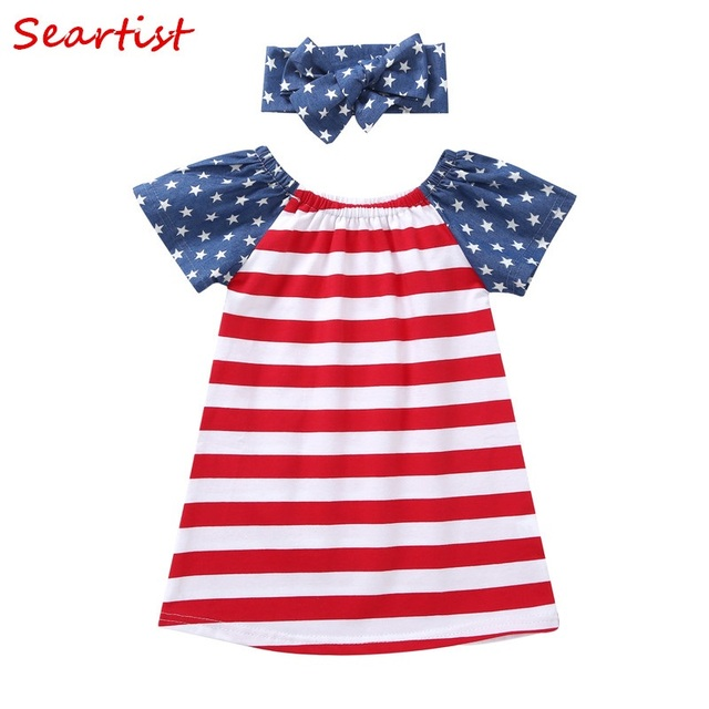 265a405367ea Seartist Girls July 4th Dress Striped Summer 4th July Vestidos Dresses for Girls  Baby Girls Clothes Headband+Dress 2019 New 33