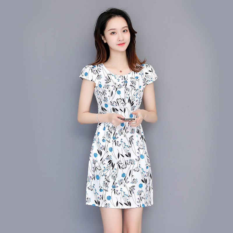 Summer Crop Top Midi Dress 2019 New Korean Package Waist Short Sleeved Large Size Round Neck Women Clothes Casual White Dresses