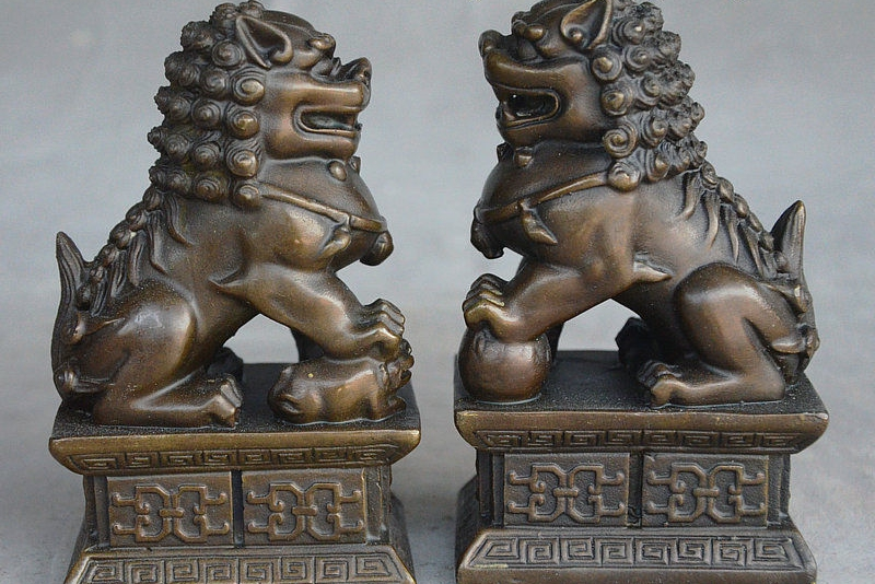 4 China FengShui Bronze Wealth Exorcism Door guard Foo dog Lion Statue Pair4 China FengShui Bronze Wealth Exorcism Door guard Foo dog Lion Statue Pair