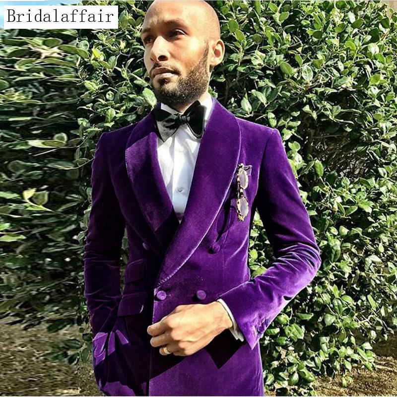 Bridalaffair 2018 Tailored Velvet Men Suit Slim Fit Mens Suits Custom Made Size and Colour Tuxedo Blazer Jacket with Pants 2Pcs