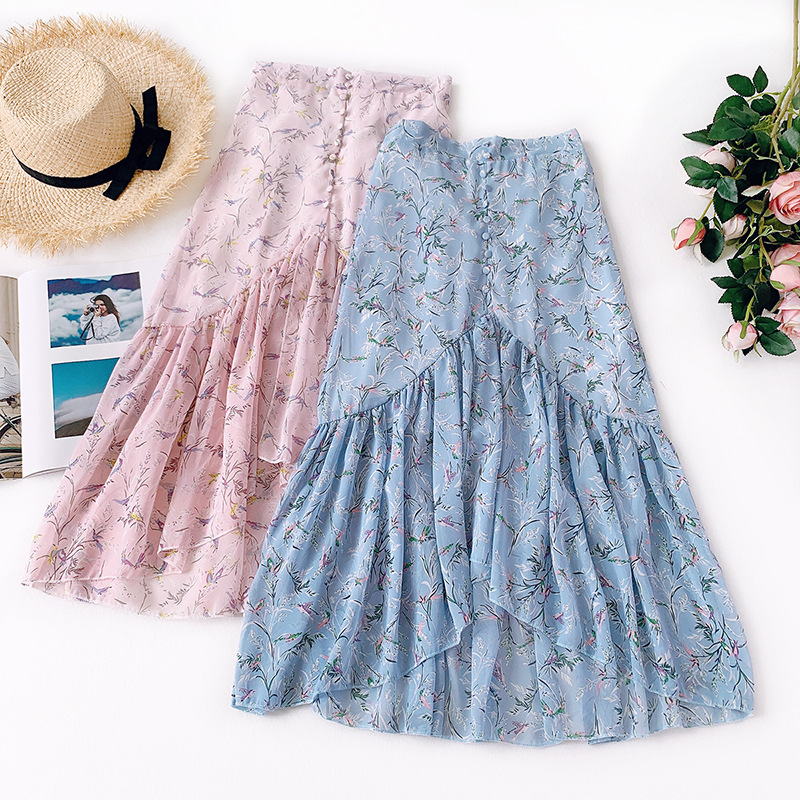 Wasteheart Summer Pink Blue Women Skirt Chiffon High Waist A-Line Mid-Calf Long Skirts Button Clothing Flower Printed Skirts