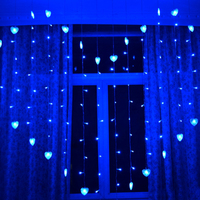 1 5x1 4m Heart Shape LED String Light Holiday Christmas Wedding Decoration Lamp Led Icicle Curtain