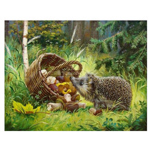 5D DIY full diamond painting animal hedgehog embroidery rhinestone cross stitch home decoration