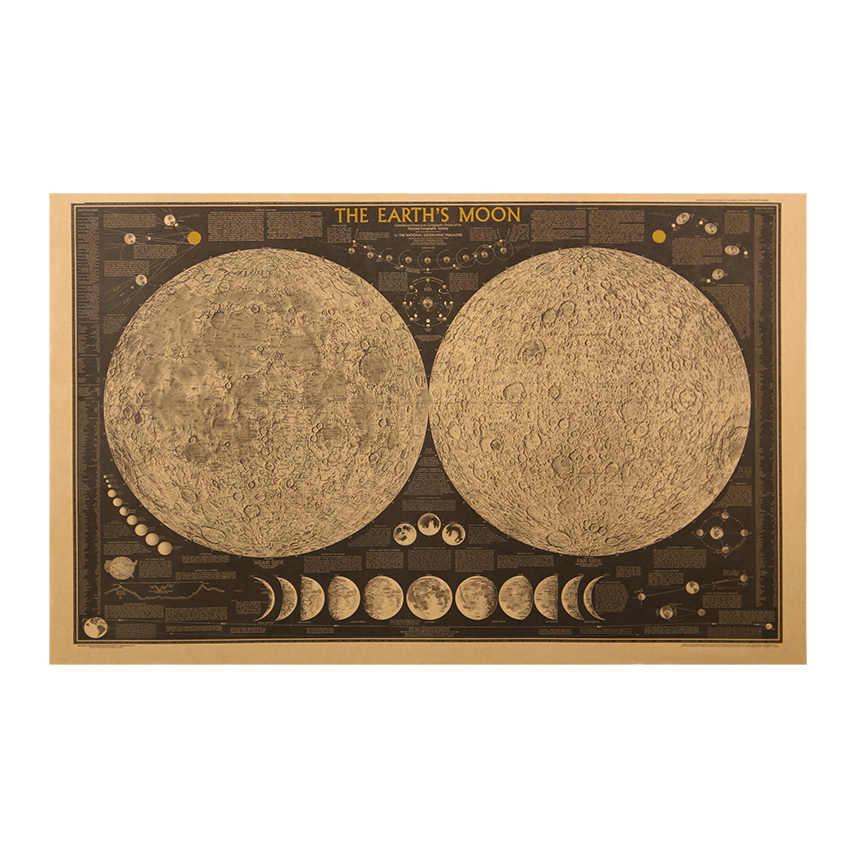 التعادل LER كبير Vintage ورقة الرجعية الأرض القمر خريطة العالم ملصق جدار الرسم البياني ديكور المنزل الجدار ملصق