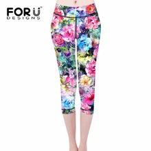 FORUDESIGNS Novelty 3D Beauty Flowers Print Pants Women Trousers Female Workout Leggings Fitness Elastic Leggins Supreme Legins