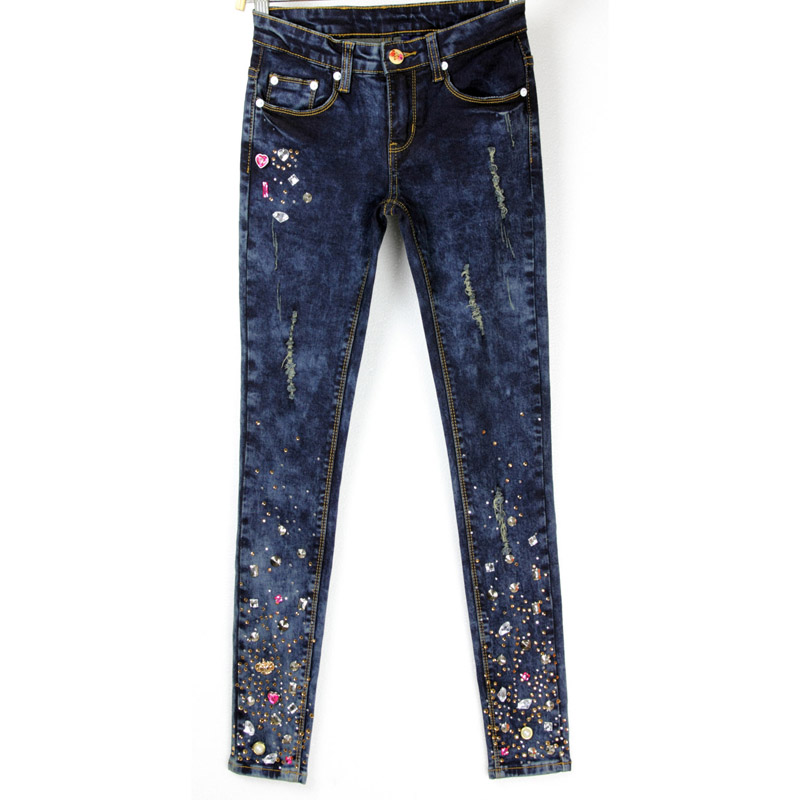 ФОТО European Style New Large Size Womens Jeans Female Stretch Pencil Colored Diamond Lady Trousers AD9675