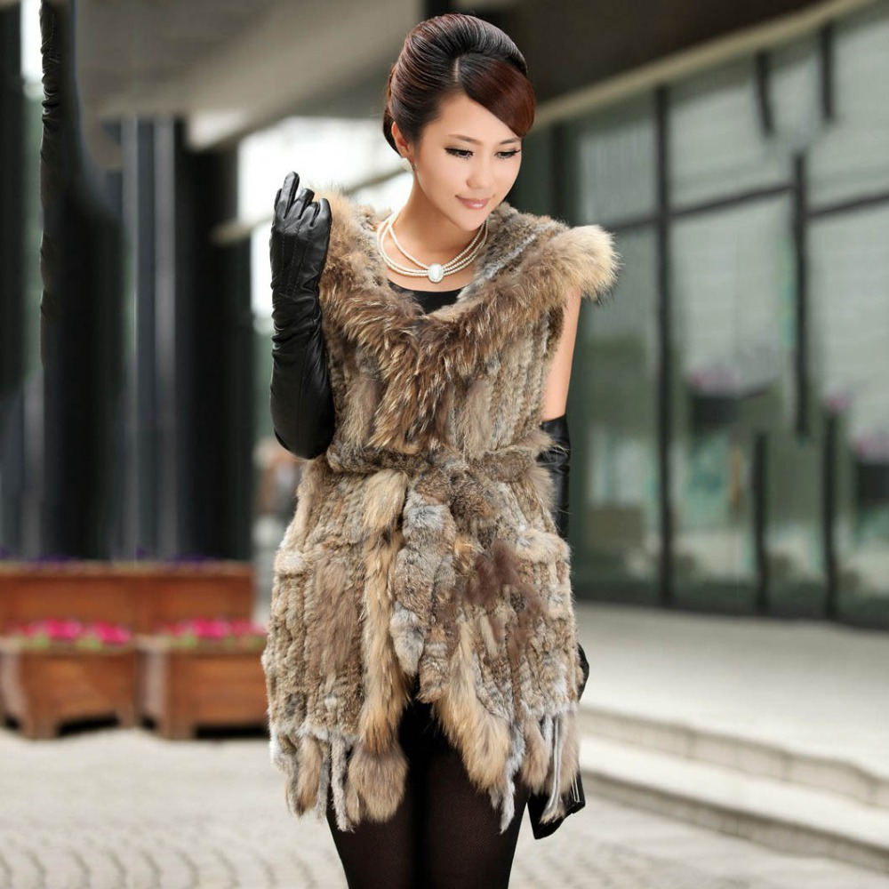 women real knitted rabbit fur vest with hoody raccoon fur trim belt fur cap rabbit hair long femme fur from natural waistcoat
