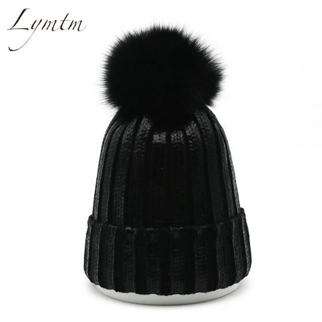 1e16ad6fa97f08 [Lymtm] 2018 Fashion Bronzing Cotton Beanies Women High Quality Fox Fur  Pompom Gold Silver