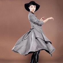 Belt plaid coat womens winter jackets and coats wool manteau femme women's cashmere coat long  maxi cashmere fur coat