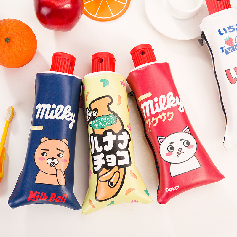 Big PU leather pencil bag with sharpener Cute school pencil case pen holder Stationery pencilcase Office supplies F437