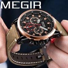 MEGIR ผู้ชายนาฬิกายี่ห้อ Luxury Gold นาฬิกาข้อมือ Chronograph วันที่ทหารกีฬาหนัง Band นาฬิกาผู้ชาย Relogio Masculino 2085