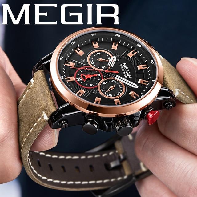 MEGIR ساعة رجالية ماركة فاخرة الذهب كرونوغراف ساعة اليد تاريخ الرياضة العسكرية حلقة من جلد الذكور ساعة Relogio Masculino 2085