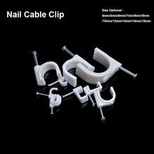100 шт./лот стали круг ногтей клип 18 мм кабельные крепления зафиксировать кабель на стене стали ногтей кабельный электрический провод клип