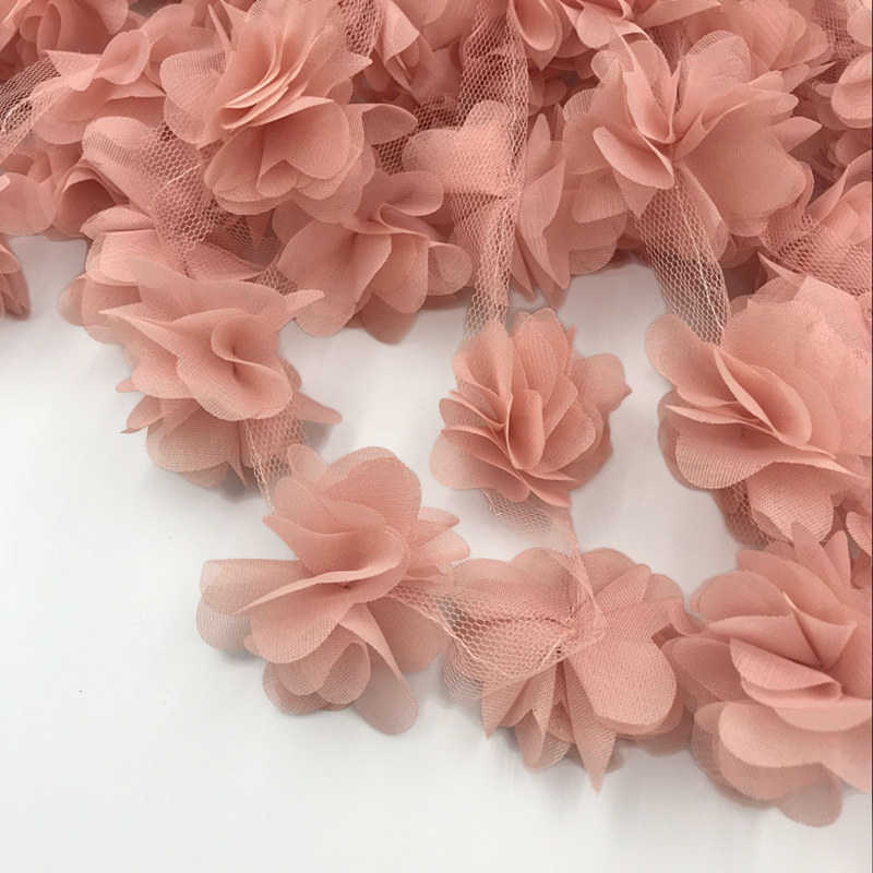 24pcs flowers 3D Chiffon Cluster Flowers Lace Dress Decoration Lace Fabric Applique Trimming Sewing Supplies