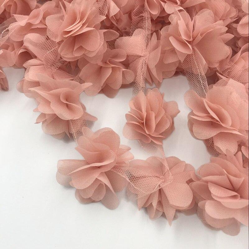 24 stücke blumen 3D Chiffon Cluster Blumen Spitze Kleid Dekoration Spitze Stoff Applique Trimmen Nähen Liefert кружево