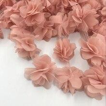 24pcs פרחים 3D שיפון אשכול פרחי תחרה שמלת קישוט תחרה בד Applique זמירה תפירת ספקי кружево