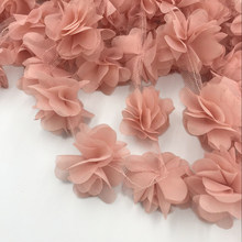 24pcs flowers 3D Chiffon Cluster Flowers Lace Dress Decoration Lace Fabric Applique Trimming Sewing Supplies кружево(China)