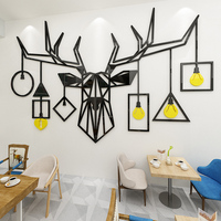 Creative Deer head Acrylic 3d self adhesive wall sticker Living room TV background wall decoration Nordic ins wall sticker
