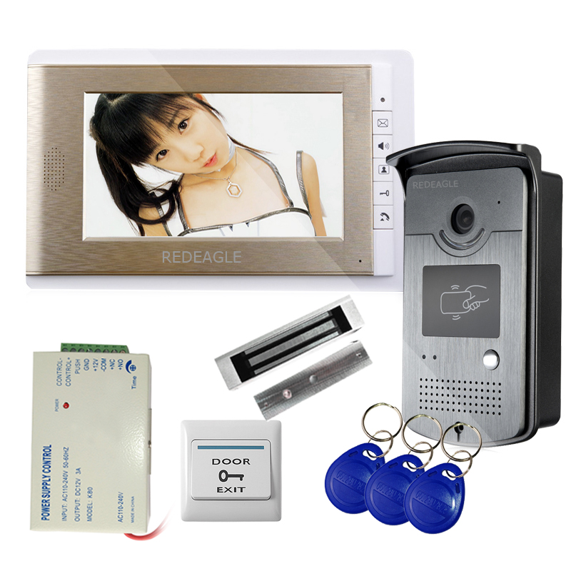 REDEAGLE Wired 7 Inch Video Door Phone Intercom Entry System W/ RFID Access Camera + 180Kg Electric Magnetic Lock + Exit Button