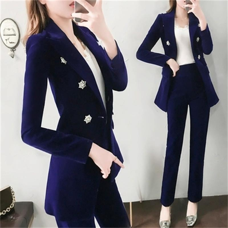 MMCP Womens Sequins Velvet Double Breasted Business Work Blazer Jacket Suit Coat