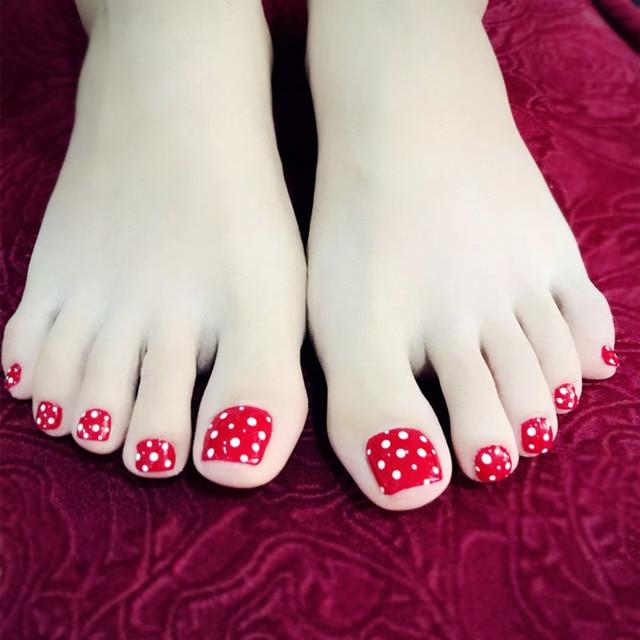 24Pcs Shiny Fake Nails Toe Nail Red False Nails Toenail Tips White ...
