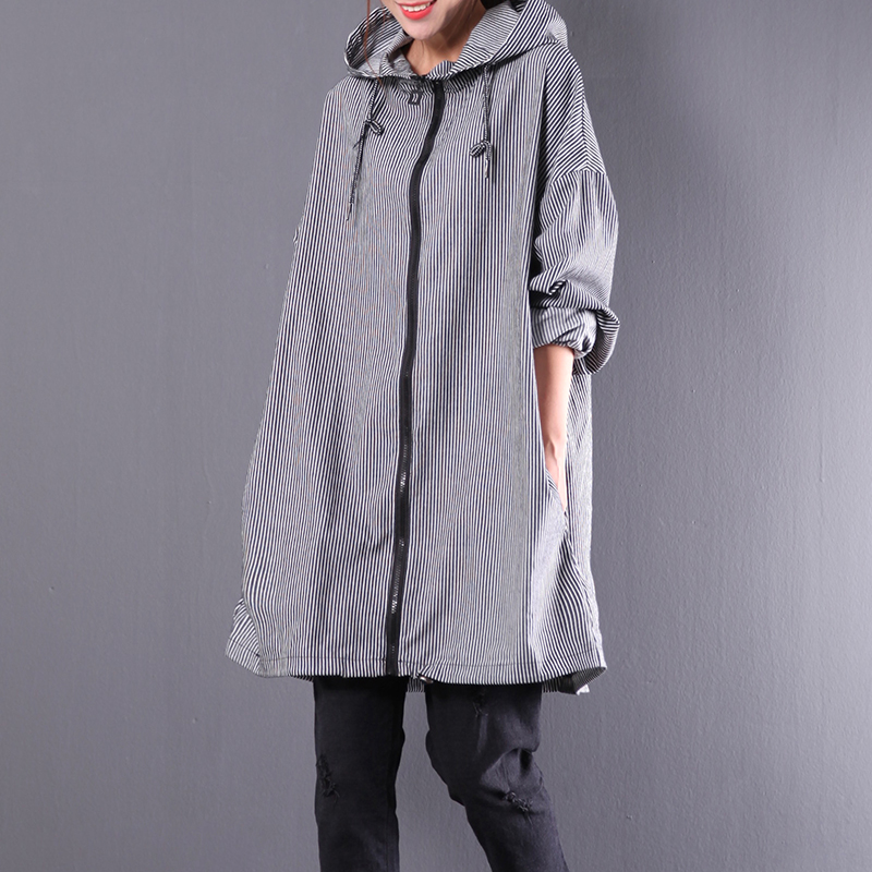 Outerwear Hood Trench Loose Female Autumn Plus-Size Zipper With Brief All-Match Vertical-Stripe