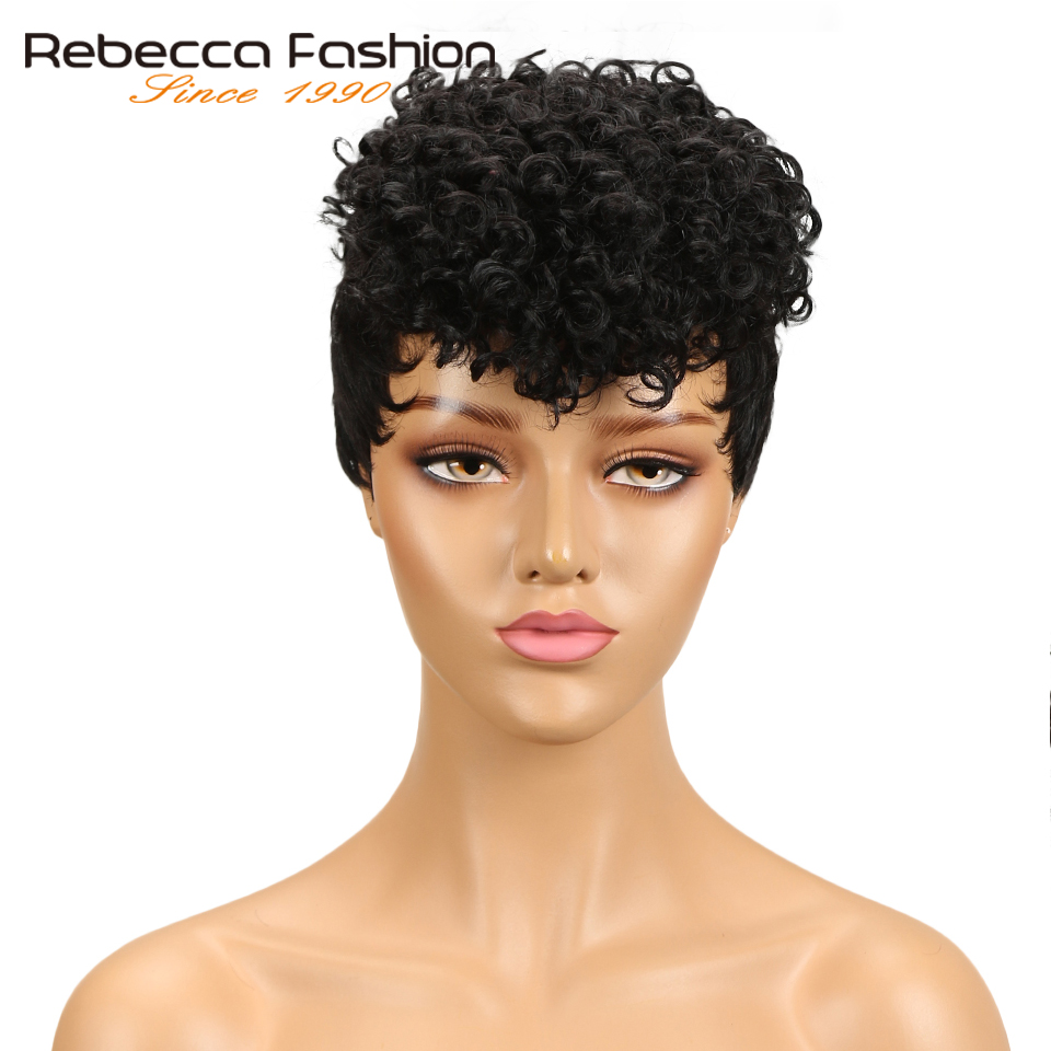 Rebecca Short Curly Wig Peruvian Sassy Curly Remy Human Hair Wigs For Black Women Brown Red Wine 10 Colors 8 Inch Free Shipping