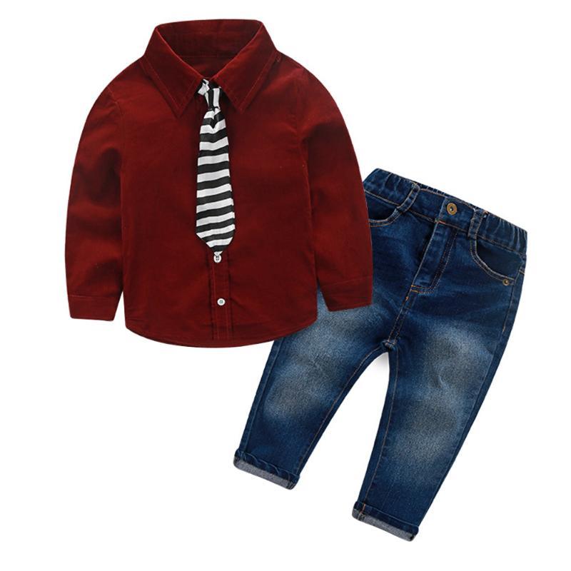 2pcs Children Clothing Set Baby Boys Long Sleeve Plaid Tie Shirt+Trousers Jeans Autumn Gentleman Child Clothes Suits new 2015 autumn winter fashion baby kids boys long sleeve shirt jeans denim trousers set outfits 1 6y