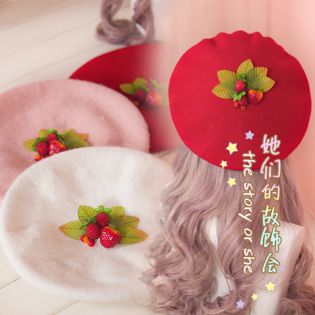 d6cae3d0002 Princess swe et lolita EVIL LAMOUR trappings Strawberry berry Japanese hand  Lolita handmade Beret best choice GSH103-in Berets from Apparel Accessories  on ...