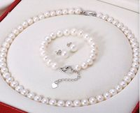 FREE SHIPPING HOT sell new Style >>>> 9 10mm 18 7 8 AAA Akoya White Pearl Necklace&Bracelet SET