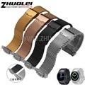 Promoción impermeable milan pulsera de acero inoxidable de malla para samsung galaxy gear s2 r720 20mm plata negro venda de reloj correas