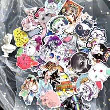 цены 50Pcs/lot Cartoon Fat Cat Stickers For Snowboard Laptop Luggage Car Fridge Car- Styling Vinyl Decal Home Decor Graffiti Stickers