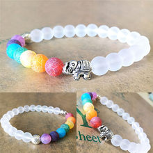 JETTINGBUY 1Pc Mala Bead Yoga Energy Bracelet 7 Chakra Elephant Charm Beaded Bracelet Jewelry For Men Women Reiki Prayer Stones(China)