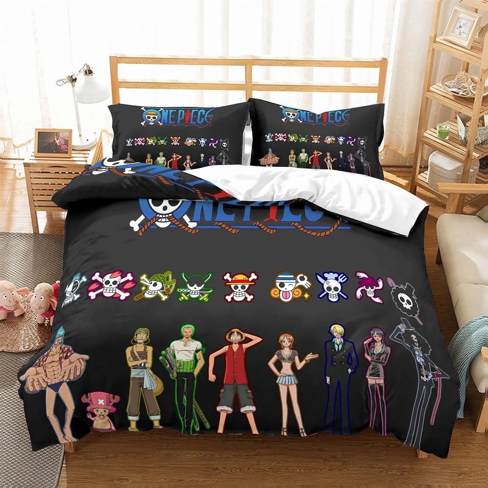 Black One Piece Bedding Set 3D Print Japanese Anime Duvet Cover Set 3PCS+2 Pillowcase Cartoon Boys Home Microfiber Bedclothes