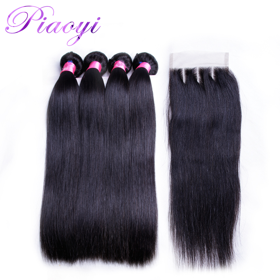 Piaoyi Brazilian Straight Hair Bundles With Closure Remy Natural Color Human Hair Weave 4 Bundles With Three Part Closure