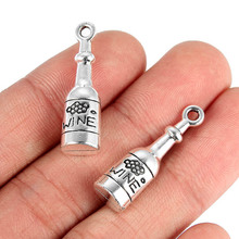 TJP 10pcs Antique Silver Tone WINE Bottle Charms Pendants Beads for DIY Bracelet Jewelry Making Findings 27x8mm