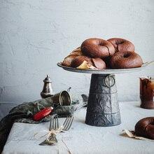 Vintage Metal Tray Antique Wrought Iron Set Vase Decoration Round retro tray Bread Plate For Home Kitchen Church Wedding