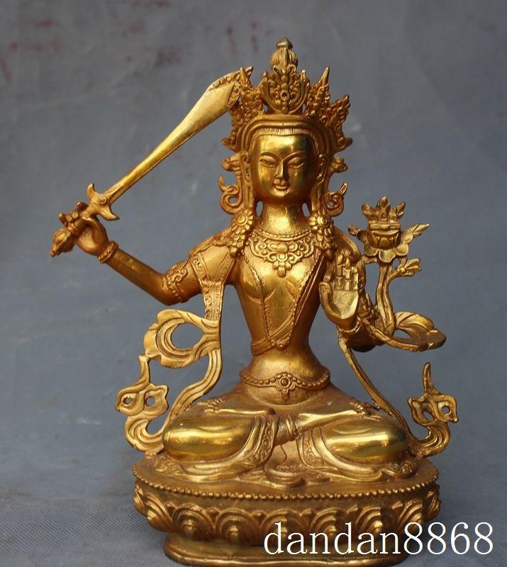 Crafts statue tibet buddhism bronze gilt Manjushri sword tara Kwan-Yin Guan Yin buddha statue halloweenCrafts statue tibet buddhism bronze gilt Manjushri sword tara Kwan-Yin Guan Yin buddha statue halloween