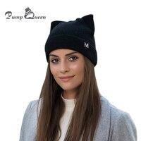Pomp Queen 2018 Nieuwe Mode Mooie Skullies Cap Warme Winter Hoed voor Vrouwen Gebreide Kasjmier Wol Mutsen Cat Oor Stijlvolle Cap