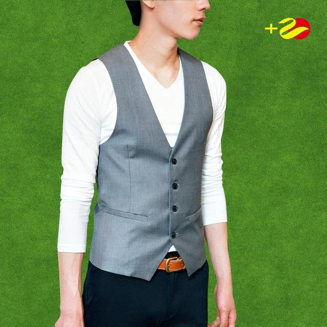 Mens terno colete chaleco hombre Slim fit colete preto cinza colete chalecos traje vestido do mens coletes botão colete formais